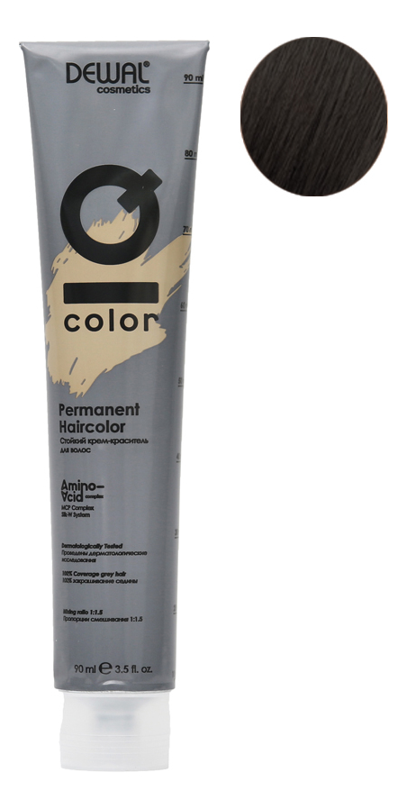 Стойкий крем-краситель для волос на основе протеинов риса и шелка Cosmetics IQ Color Permanent Haircolor 90мл: 4.1 Ash Brunette кислотный тонер для волос color sync acidic toner sheer 90мл brunette ash