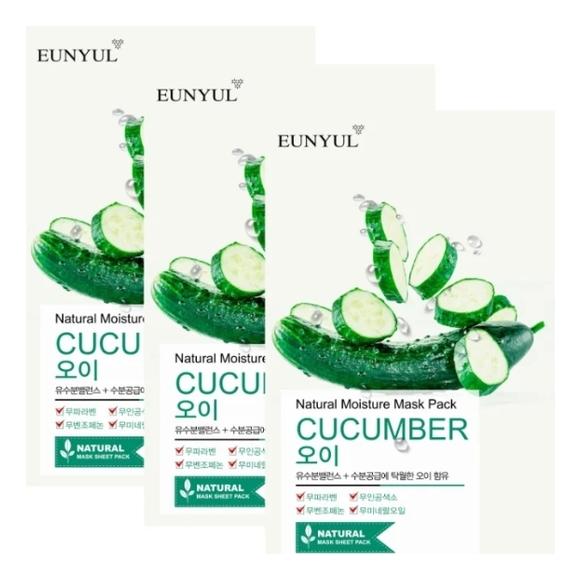Тканевая маска для лица с экстрактом огурца Natural Moisture Mask Pack Cucumber: Маска 3*22мл bergamo маска трехэтапная для лица увлажняющая 3step aqua mask pack 8 мл
