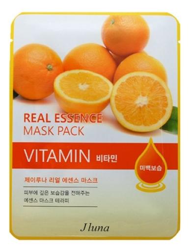 Тканевая маска для лица с витаминами Real Essence Mask Pack Vitamin 25мл: Маска 3шт тканевая маска для лица с экстрактом алоэ вера real essence mask pack aloe 25мл