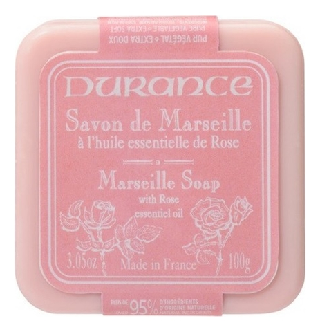 Натуральное мыло Triple Milled Marseille Soap With Rose Essential Oil 100г