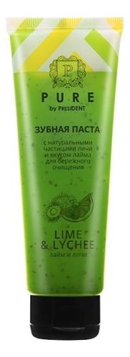 Зубная паста Pure By President Lime & Lychee 100г (лайм и личи) зубная паста president pure by лайм и личи 100g 70150
