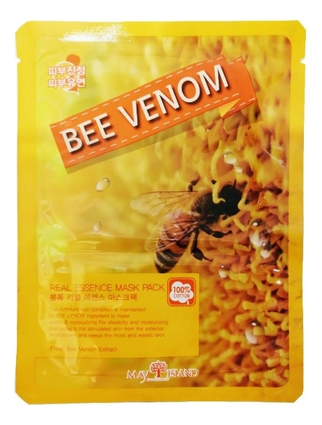 Купить Тканевая маска для лица Real Essence Bee Venom Mask Pack 25мл, May Island