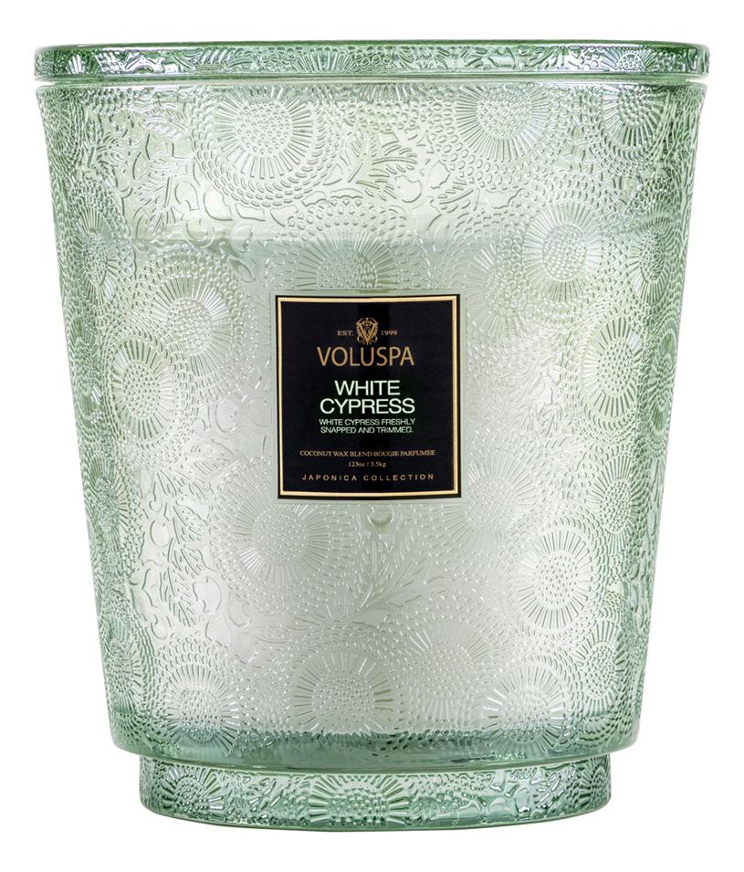 Купить Ароматическая свеча White Cypress (Белый Кипарис): свеча в алюминиевом подсвечнике с 5 фитилями 3500г, VOLUSPA
