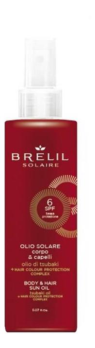 Купить Защитое масло для волос и тела Solair Body & Hair Sun Oil SPF6 150мл, Защитое масло для волос и тела Solair Body & Hair Sun Oil SPF6 150мл, Brelil Professional