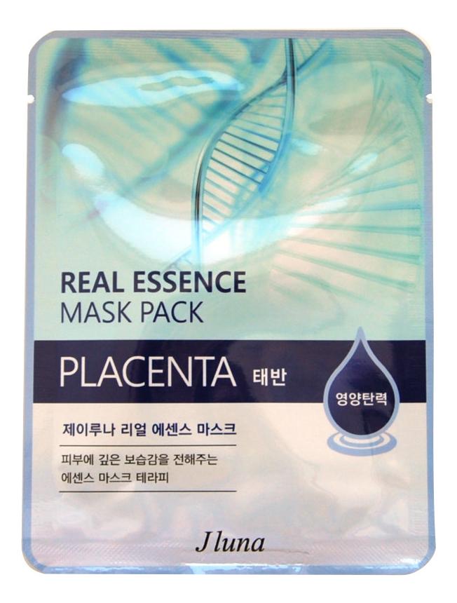 Тканевая маска для лица с плацентой Real Essence Mask Pack Placenta 25мл: Маска 3шт тканевая маска для лица с экстрактом алоэ вера real essence mask pack aloe 25мл