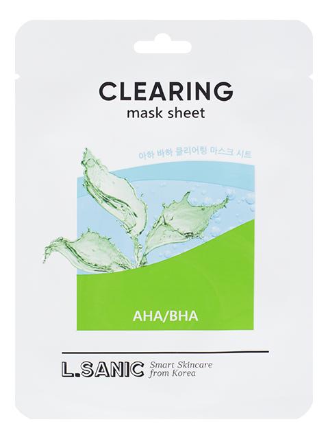 Тканевая маска для очищения пор лица AHA/BHA Clearing Mask Sheet 25мл: Маска 3шт глиняная маска для очищения пор
