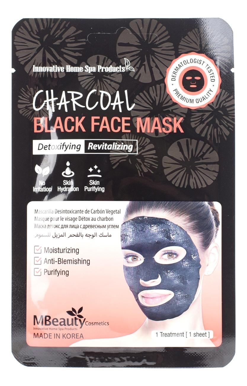 Восстанавливающая тканевая детокс-маска для лица с древесным углем Charcoal Black Face Mask 23мл