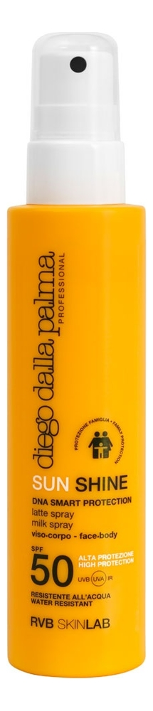 Купить Солнцезащитное спрей-молочко для лица тела Sun Shine Milk Spray Face-Body Family Protection SPF50 150мл, Diego dalla Palma