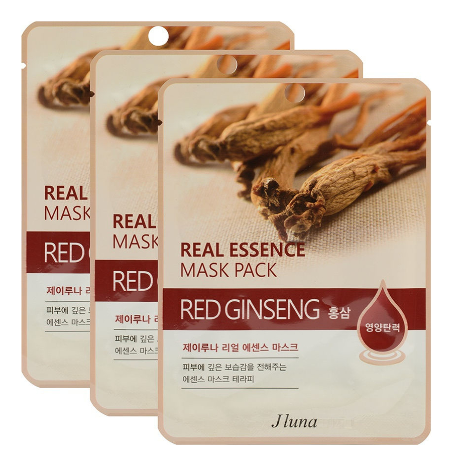 Тканевая маска для лица с экстрактом красного женьшеня Real Essence Mask Pack Red Ginseng 25мл: Маска 3шт тканевая маска для лица с экстрактом алоэ вера real essence mask pack aloe 25мл