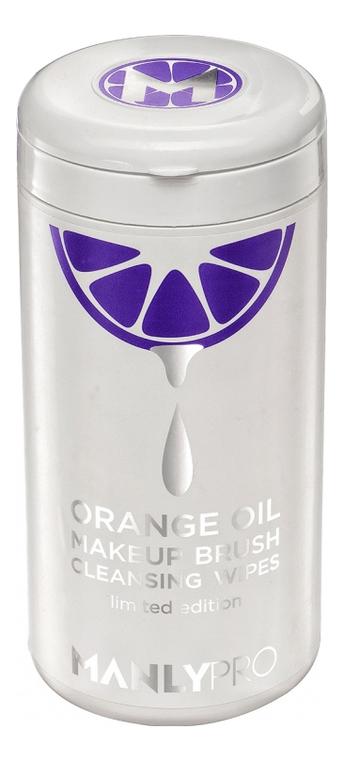 Купить Очищающие салфетки для кистей с апельсиновым маслом Orange Oil Make Up Brush Cleansing Wipes: Салфетки 100шт, Manly PRO