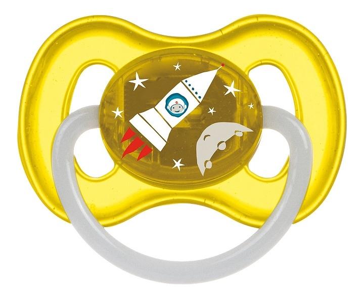 Пустышка круглая латексная 6-18мес Space (желтая) цена 2017