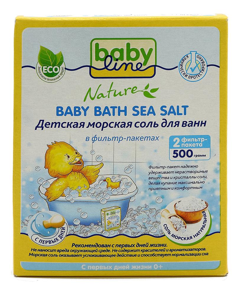 Купить Детская морская соль для ванн в фильтр-пакетах Натуральная Nature Baby Bath Sea Salt: Соль 500г, Babyline