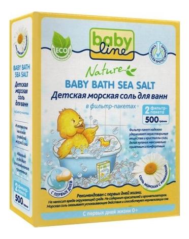 Купить Детская морская соль для ванн с ромашкой в фильтр-пакетах Nature Baby Bath Sea Salt: Соль 500г, Babyline