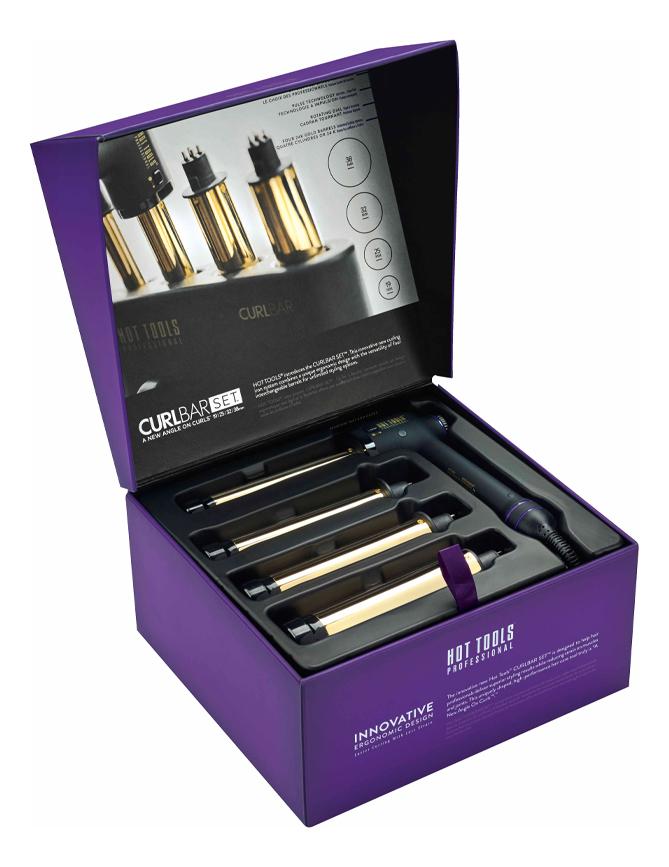 Стайлер для волос со сменными насадками CurlBar 24K Gold 19мм, 25мм, 32мм, 38мм стайлер для волос 24k gold salon curling iron 32мм