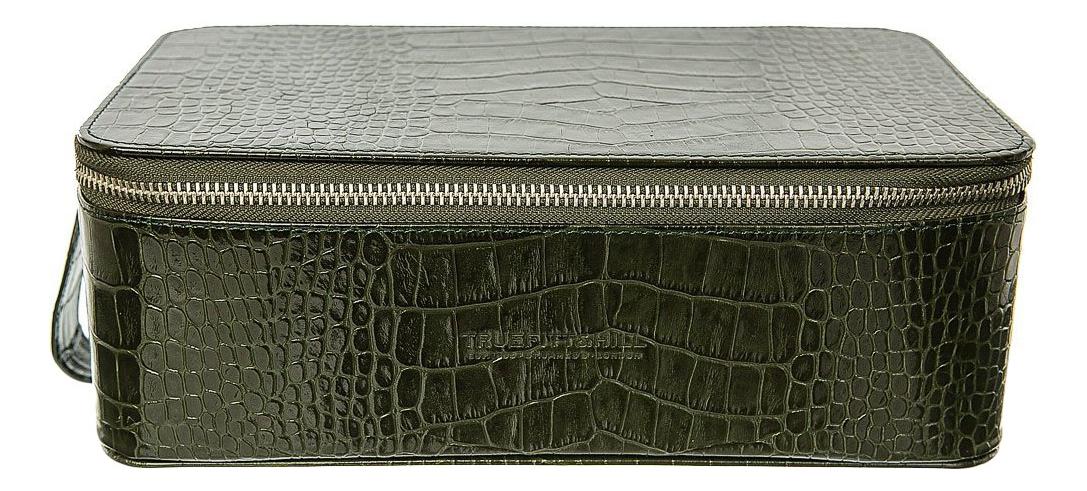 Прямоугольная косметичка на молнии Regency Box Bag Green Crocodile