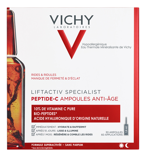 Концентрированная антивозрастная сыворотка для лица Liftactiv Specialist Peptide-C Ampoules Anti-Age 30*1,8мл сыворотка c против морщин лифт актив про vichy liftactiv cxp 3555 лет