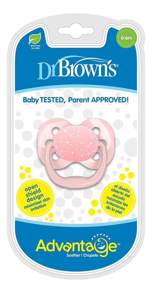 Купить Пустышка с колпачком Advantage PA11001 (0-6 мес, розовая), Dr. Brown's