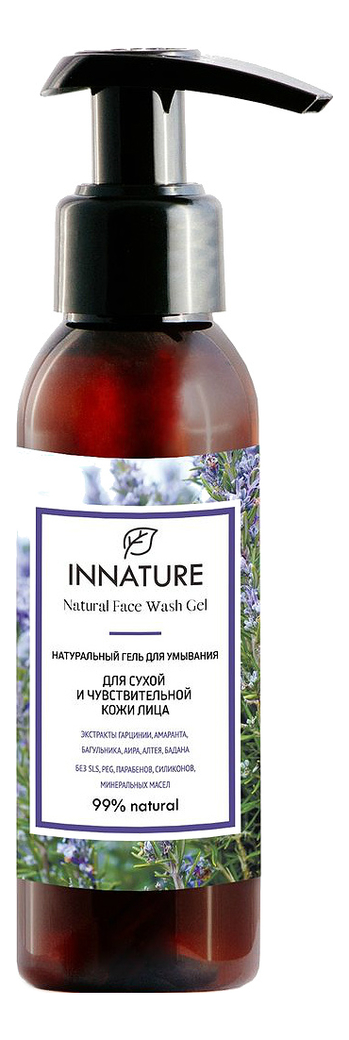 Купить Натуральный гель для умывания сухой и чувствительной кожи лица Natural Face Wash Gel 100мл, INNATURE