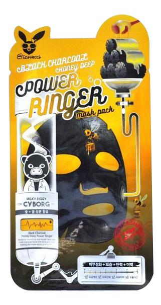 Купить Тканевая маска для лица с углем и медом Black Charcoal Honey Deep Power Ringer Mask Pack 23мл: Маска 1шт, Elizavecca