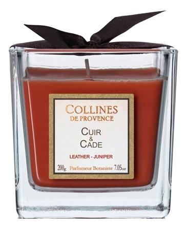 Ароматическая свеча Leather-Juniper (кожа, можжевельник): Свеча 200г, Collines de Provence  - Купить