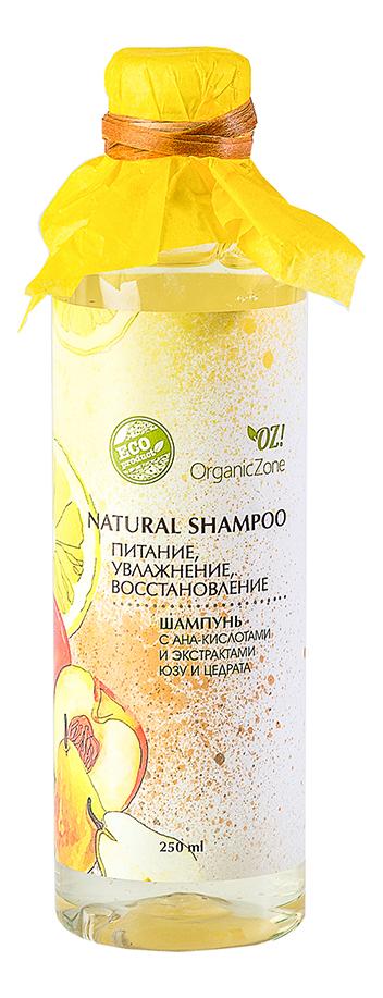 Купить Шампунь для волос с AHA-кислотами Питание, увлажнение, восстановление Natural Shampoo 250мл: Шампунь 250мл, OrganicZone