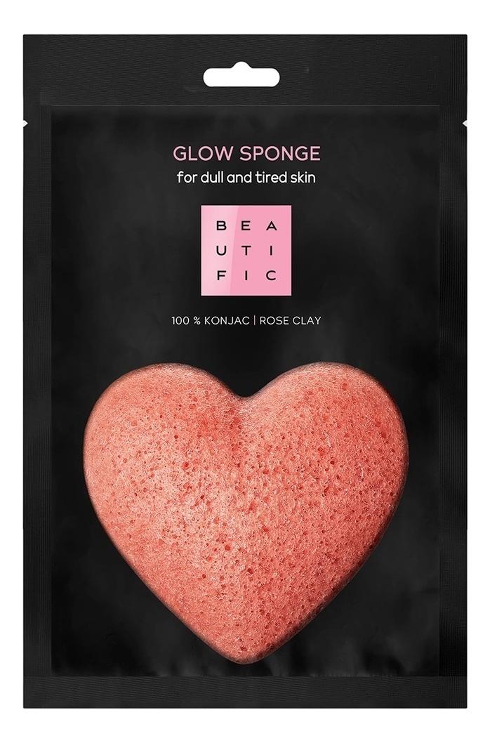 Спонж конняку с розовой глиной для сияния кожи лица Glow Sponge недорого