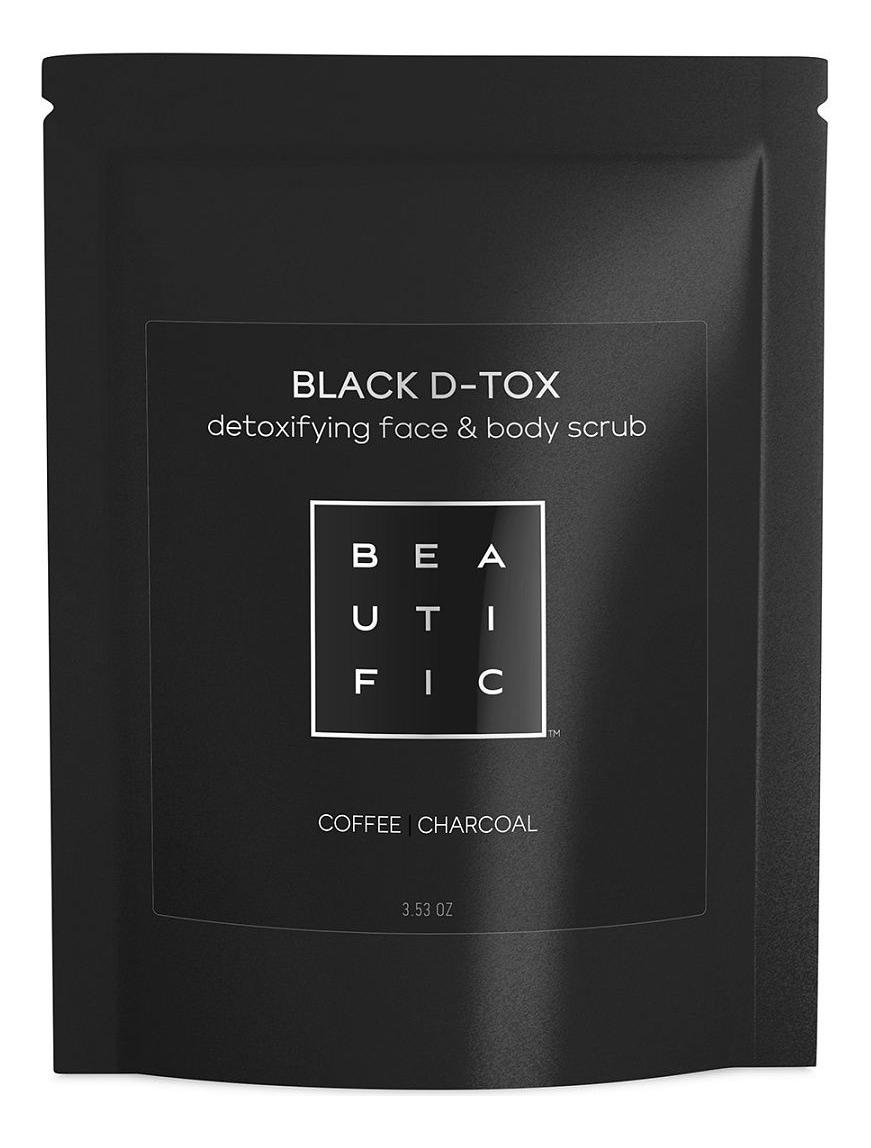 Сухой угольно-кофейный скраб для глубокого очищения лица и тела Black D-Tox 100г сухой скраб для тела купить