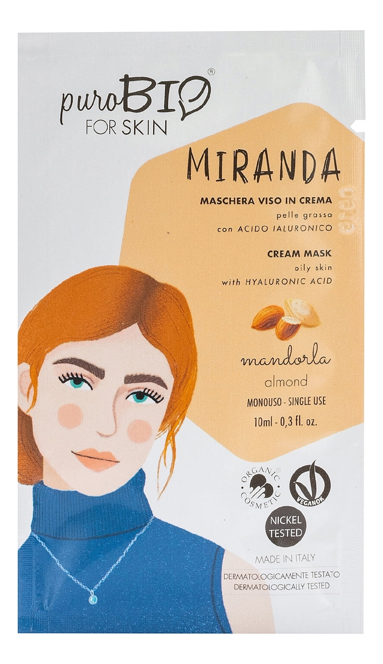 Купить Крем-маска для лица Miranda Cream Mask Oily Skin Almond 10мл, puroBIO