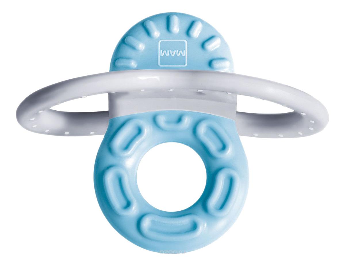 Пропезыватель для зубов с клипсой-держателем Mini Teether With Clip Ice Blue & White (от 2мес, бело-голубой)