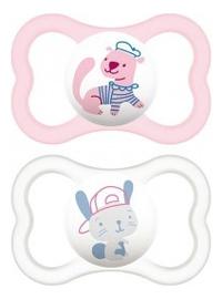 Пустышка силиконовая + контейнер для стерилизации, хранения и переноски Air (от 6мес, розовая и белая)