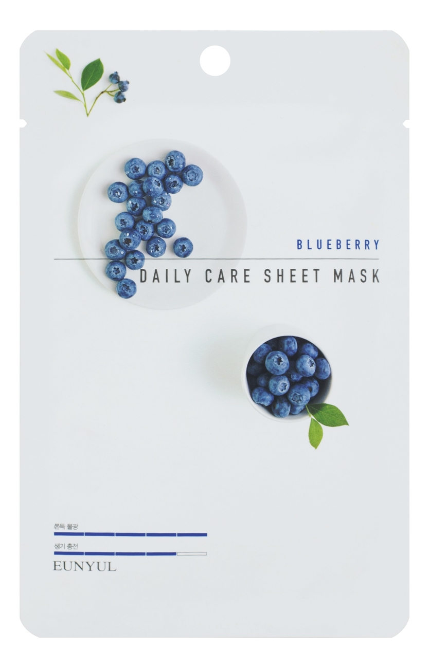 Тканевая маска для лица с экстрактом черники Blueberry Daily Care Sheet Mask 22г: Маска 3шт тканевая маска для лица с экстрактом черники purity blueberry sheet mask 22мл маска 1шт