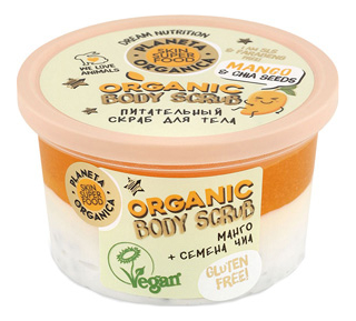 Купить Питательный скраб для тела Манго и семена чиа Organic Body Scrub 250мл, Planeta Organica