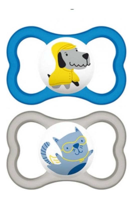 Пустышка силиконовая + контейнер для стерилизации, хранения и переноски Air (от 6мес, голубая и серая)
