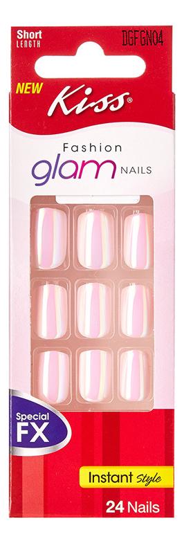 Фото - Накладные ногти Розовое сияние Fashion Glam Nails DGFGN04RF 24шт (без клея, короткая длина) накладные ногти калейдоскоп glam fantasy kgf05c 28шт с клеем максимальной длины