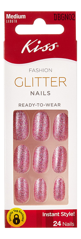 Накладные ногти Розовый жемчуг Fashion Glitter Nails DBGN02 24шт (без клея, короткая длина)