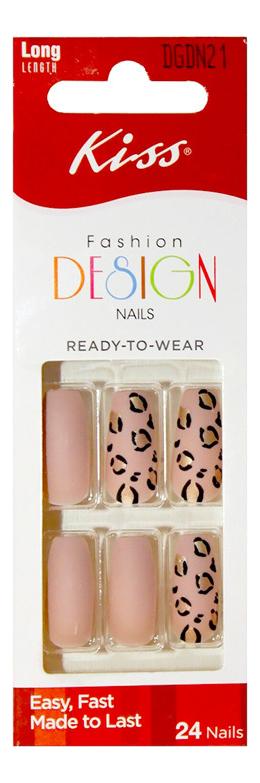 Накладные ногти Розовый леопард Fashion Design Nails DGDN21RF 24шт (без клея, максимальная длина)