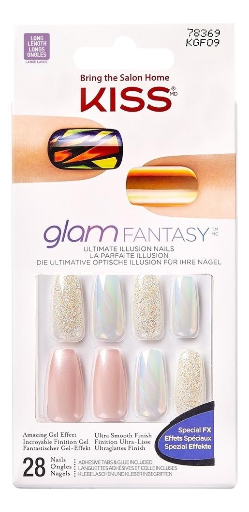 цена на Накладные ногти Розовый кварц Glam Fantasy KGF09C 28шт (с клеем, короткая длина)