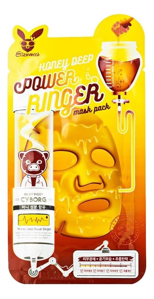 Тканевая маска для лица с медом Power Ringer Mask Pack Honey Deep: Маска 1шт bergamo маска трехэтапная для лица увлажняющая 3step aqua mask pack 8 мл