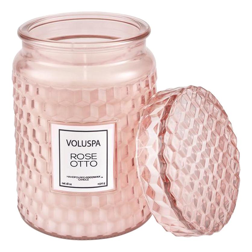 Ароматическая свеча Rose Otto: свеча в стеклянной банке с крышкой 510г