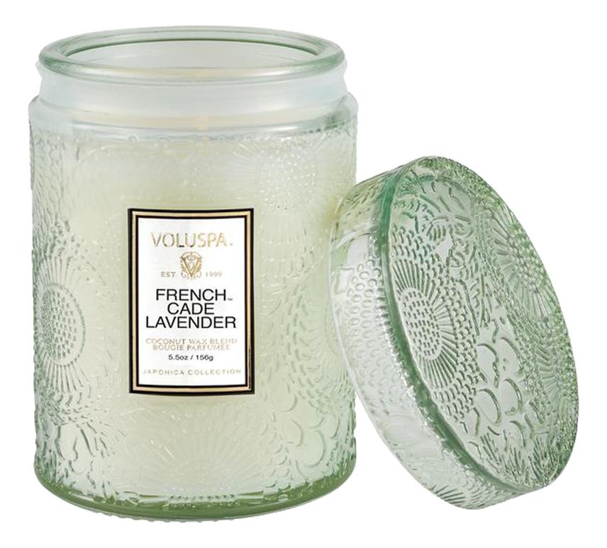 Ароматическая свеча French Cade & Lavender (лаванда и вербена): свеча в маленькой стеклянной банке с крышкой 156г ароматический спрей для дома и тела french cade lavender 100мл лаванда и вербена