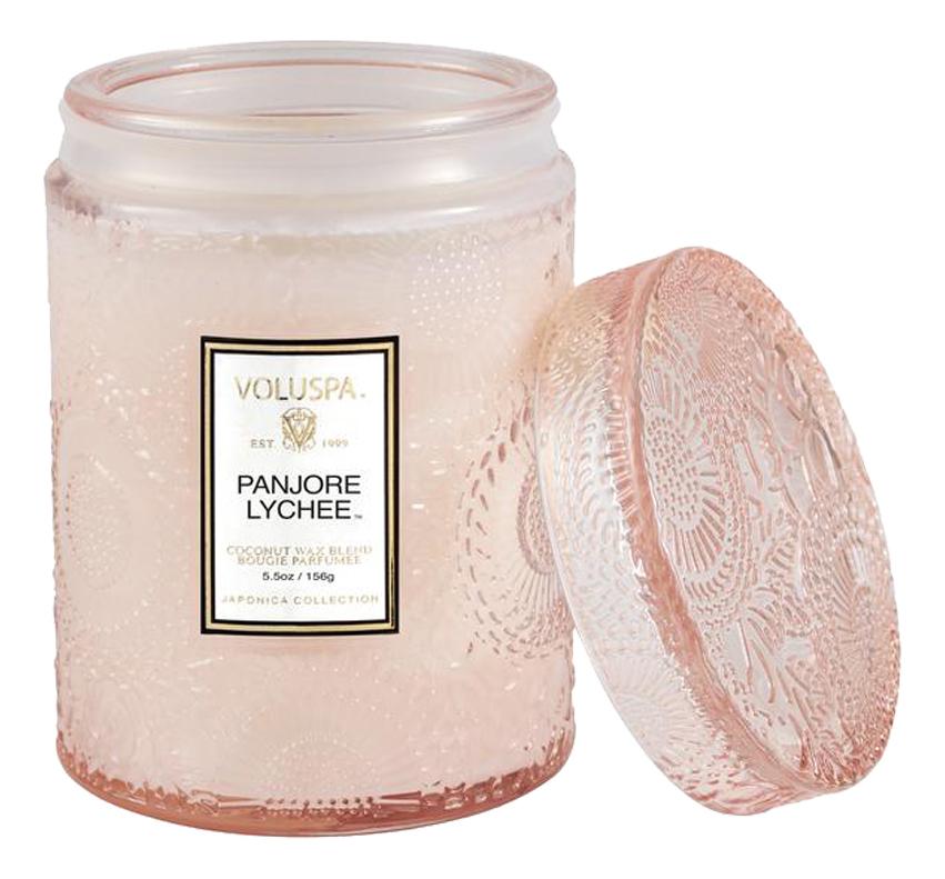 Ароматическая свеча Panjore Lychee (панжерское личи): свеча в маленькой стеклянной банке с крышкой 156г