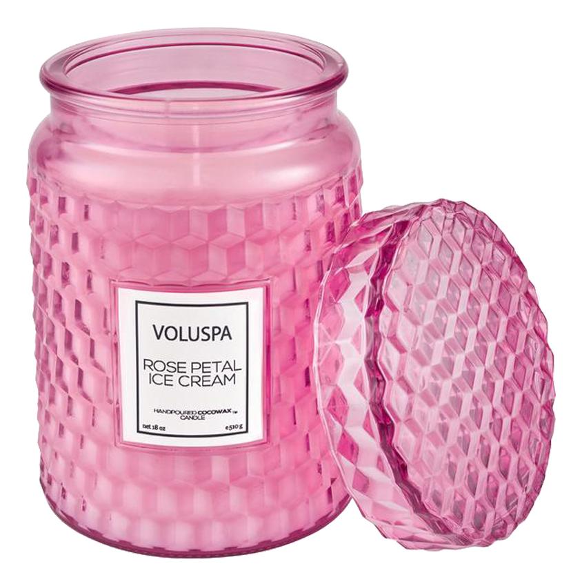 Ароматическая свеча Rose Petal Ice Cream: свеча в большой стеклянной банке со стеклянной крышкой 510г