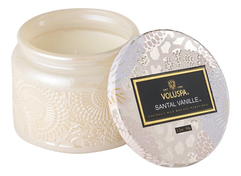 Ароматическая свеча Santal Vanille (Сандал и ваниль): свеча в маленькой стеклянной банке 90г