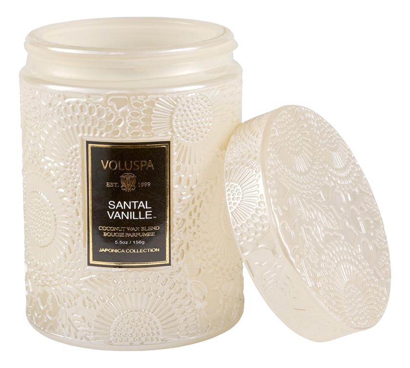 Ароматическая свеча Santal Vanille (Сандал и ваниль): свеча в маленькой стеклянной банке с крышкой 156г