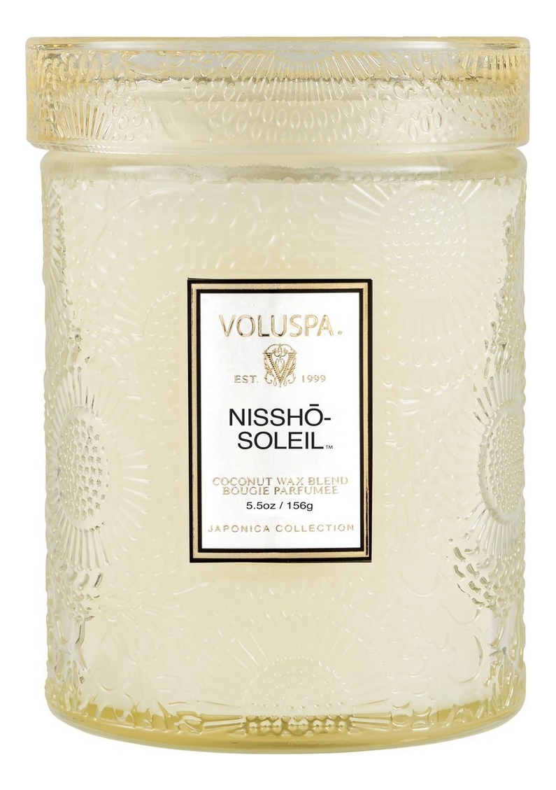 Ароматическая свеча Nissho-Soleil (ананас, мандарин и ваниль): свеча в маленькой стеклянной банке с крышкой 156г