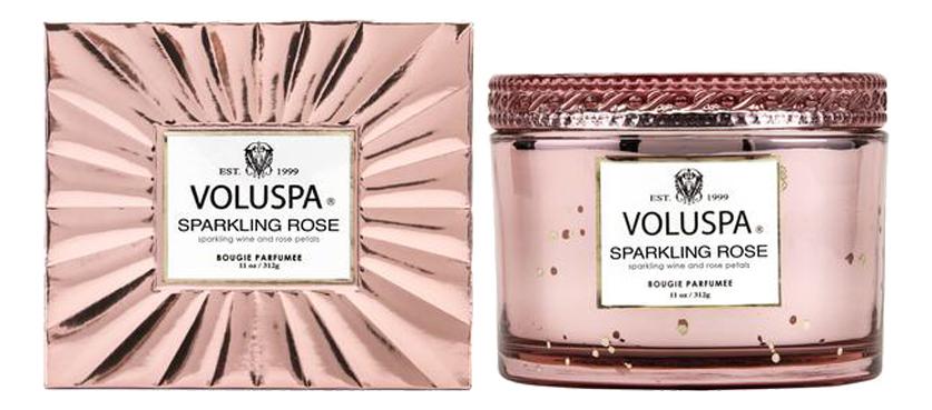 Ароматическая свеча Sparkling Rose (Игристое розе): свеча в стеклянном подсвечнике с крышкой 312г ароматическая свеча perse bloom пион жасмин и мимоза свеча в стеклянном подсвечнике с крышкой 312г