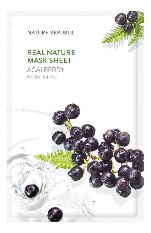 Тканевая маска для лица с экстрактом ягод асаи Real Nature Mask Sheet Acai Berry 23г