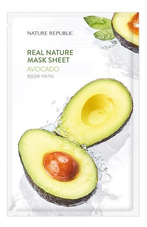 Тканевая маска для лица с экстрактом авокадо Real Nature Mask Sheet Avocado 23мл фото