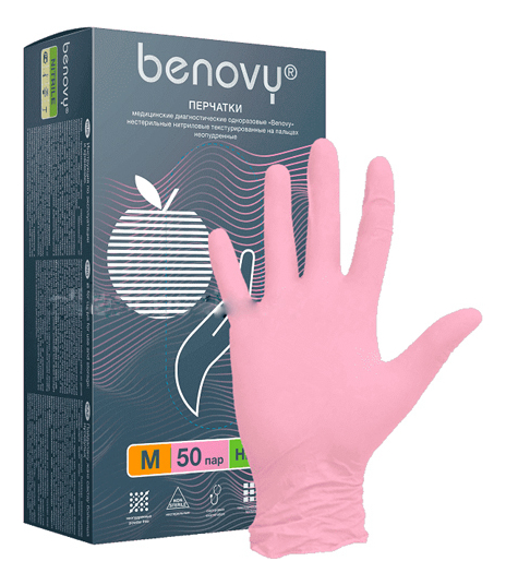 Benovy Перчатки нитриловые неопудренные 50 пар (розовые): Размер M