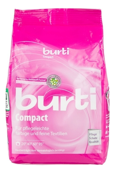 Купить Стиральный порошок-концентрат для цветного и тонкого белья Compact 893г: Порошок 893г, Burti